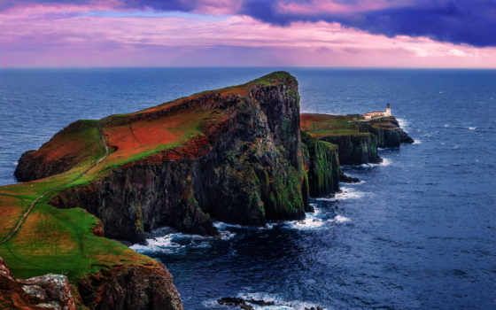 skye, point, neist, шотландия, isle, lighthouse,