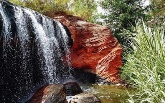 водопад, free, трава, скалы,