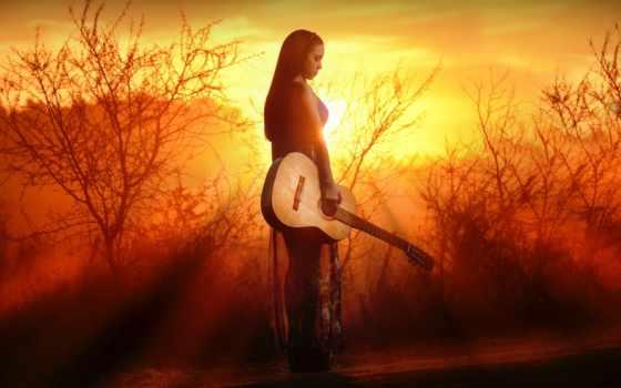 guitarra, музыка, chica, девушка, гитара, лучшая, fondo, картинка, уже, загружено,