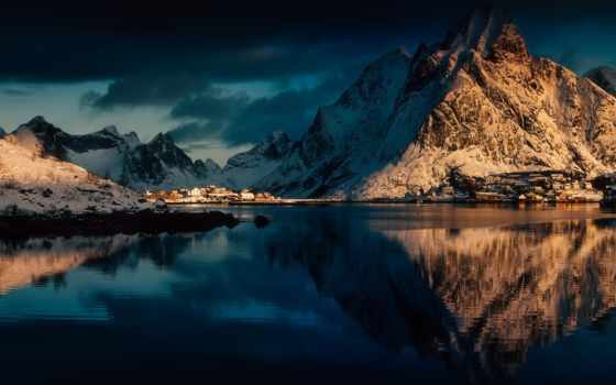 отражение, гора, песнь, water, snowy, devices, https, lofoten, фон
