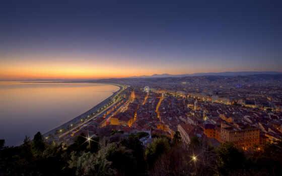 francii, город, nice, ночь, панорама, первую, франция, море, гора