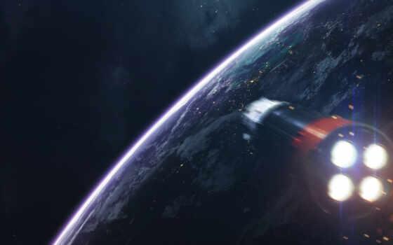premium, космос, art, fantastic, cosmic, planet, artstation, sun, rocket