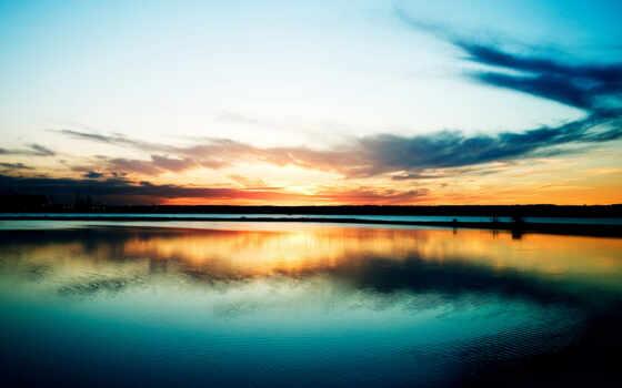 закат, вода