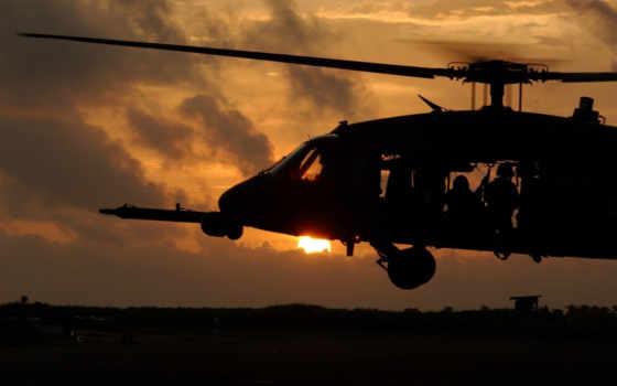 авиация, вертолет, закат