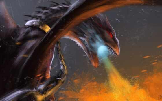 fire, dragon, breathing