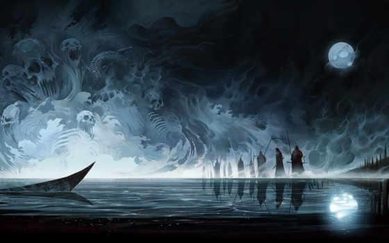 art, moon, туман