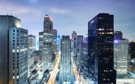 город, небоскребы, ночь