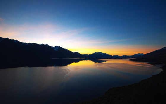 озеро, природа, wakatipu, горы, закат, full,