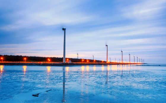 ветряки, берег, закат, монитора, река, кб, прислал, море, поле, рейтинг, красивые,