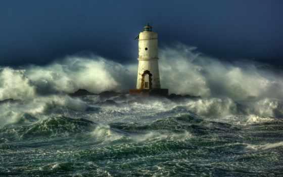 lighthouse, буря, desktop, waves, море, ocean,
