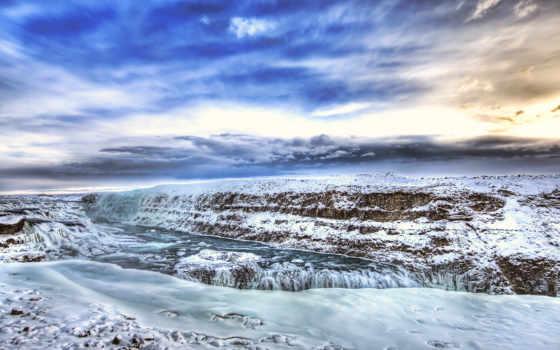 gullfoss, iceland, водопад, россии, winter, красивые, природа, большие, hdr, красавица,