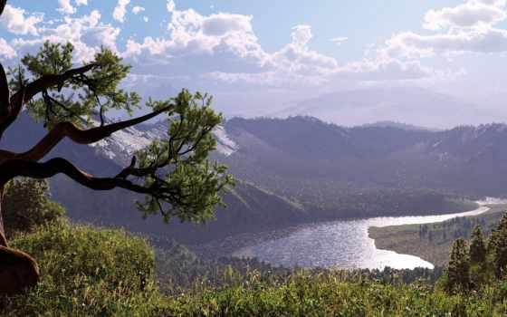 paisajes, rboles, ríos, nubes, cielo, montañas, digital, arte, flores, naturaleza, reflexión,