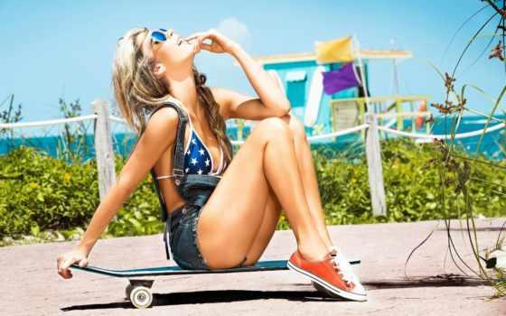 ,, одежда, красота, longboard, блондин, обувь, нога, лето, мода, скейтборд, длинные волосы