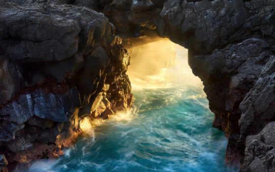 арка, natural, море, rock, ан, природа, когда, небо, листва, пасть, заводь