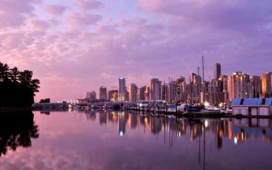 zakat, gorod, vankuver, kanada, сиреневый, здание, fon, красивый, more, priroda, пейзаж