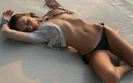 девушка, песок, water