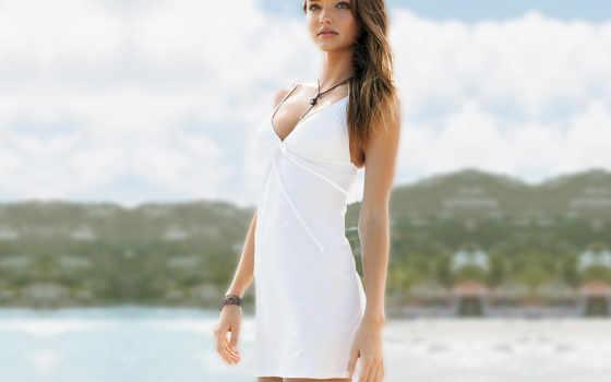 white, платье, девушка