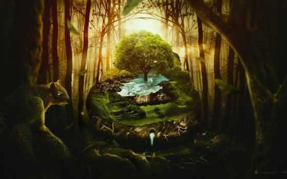 фантастика, лес, дерево