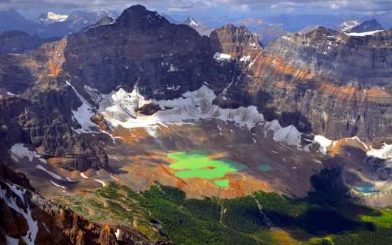 горы, вершины, зеленое, озеро, height, melting, сверху, water, pictures,