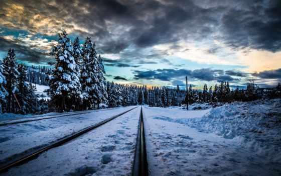 железная, дорога, рельсы, снег, лес, winter, trees, тучи, landscape,