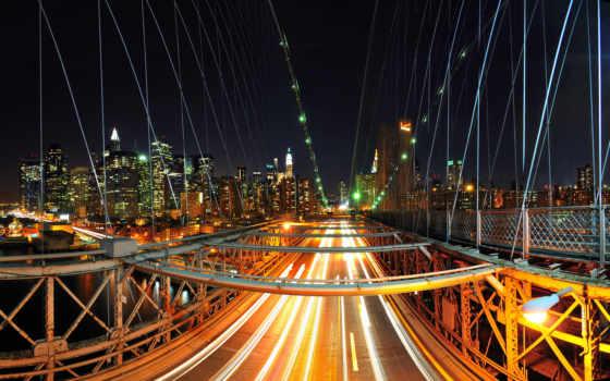 мост, огни, город, нью, ночь, бруклин, сша, york,
