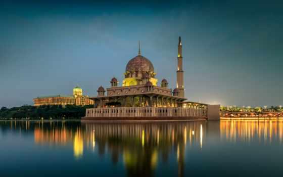 вечер, lumpur, города, храмы, здания, malaysia, река, kuala, zoom,