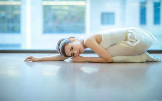 балерина, балет, белом