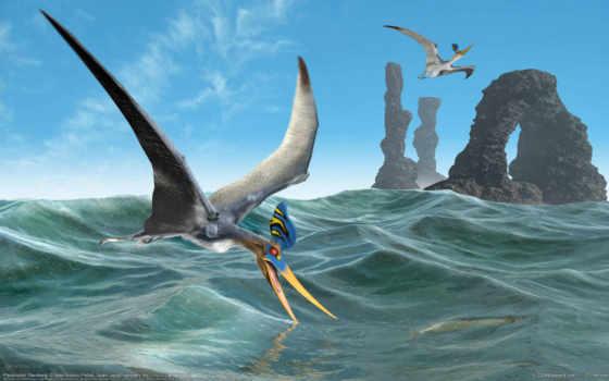 море, арка, динозавры, морем, со, скалы, летающие, полет, птеродактиль, landscape, птица,