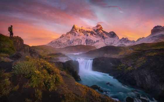 горы, landscape, река, гора,