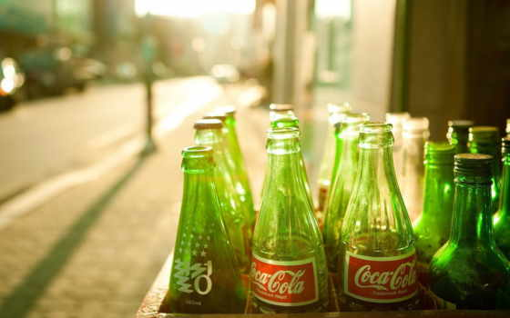 coca, cola, бутылки,