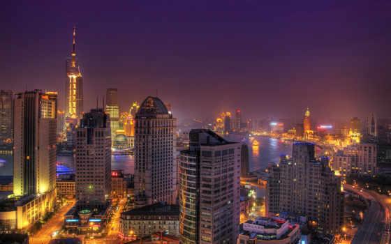 город, ночь, china, страны, фотообои, огни, китаянка,
