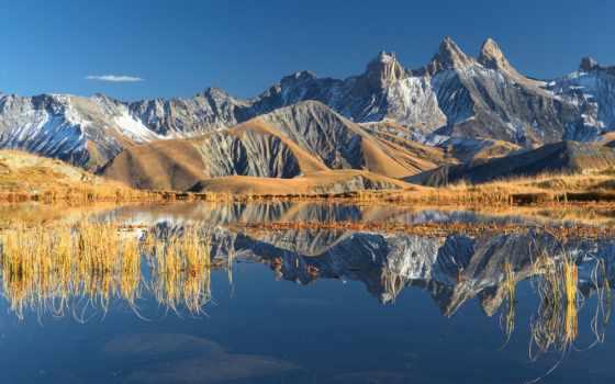 природа, горы, небо, франция, альпы, отражения, осень, oblaka, озеро, android,