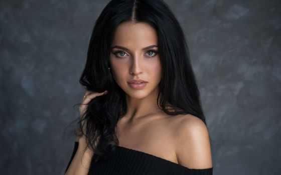 волосы, black, eyes, blue, women, женщина, модель, девушка, зелёный