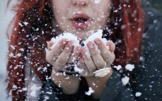 снег, тепло, palm