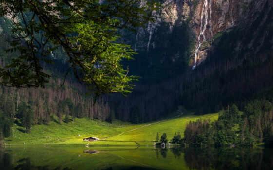 гора, природа, озеро, landscape, водопад, лес, water, биг, дерево, рай, foot