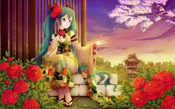 miku, hatsune, вокалоид Фон № 91345 разрешение 1920x1200