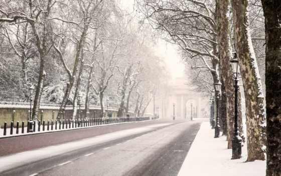 winter, london, дорога, снег, великобритания, trees, англия, фонари,