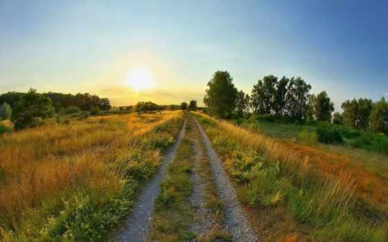 summer, sun, дорога, rising, поляна,