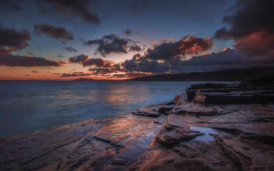 закат, море, берег, сумерки, natute, пляж, ocean,