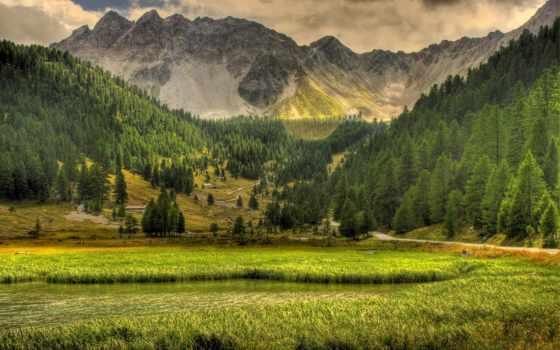 горы, лес, landscape, трава, trees, гора, пейзажи -, озеро, красивый,