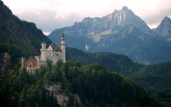 горы, german, castle, бавария, нойшванштайн, нойшванштайн,