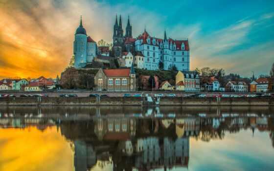 закат, meissen, castle, небо, германия, albrechtsburg, pazlyi, отражение, город, even