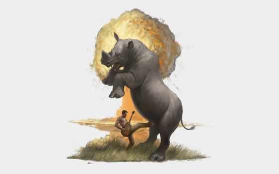 взрыв, носорог