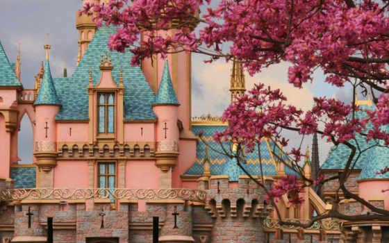 castle, розовый, cinderella, disney, фон,