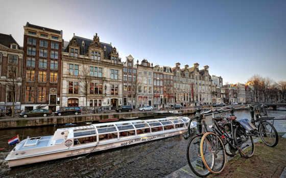 amsterdam, holland, дома, нідерланди, канал, bike, нидерландах, нидерландов, лодки, об,