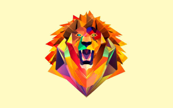 art, lion, animal, голова, digital,