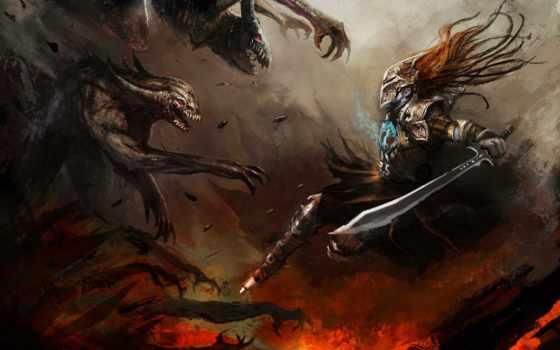 воин, art, меч, доспех, оружие, монстры, плащ, щит,