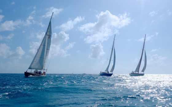 море, яхты, спорт, регата, sailboat, яхта, небо, корабли, sail,