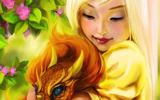 дракон, девушка, love
