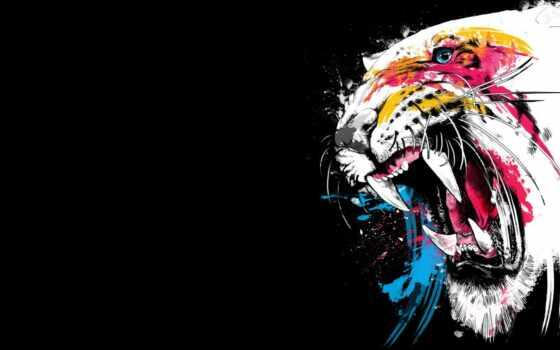 тигр, оскал, klyk, морда, краска, арта